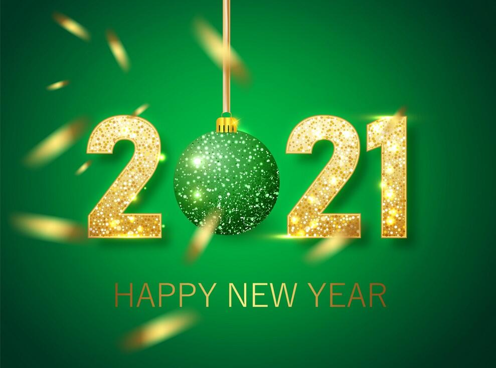 2021 Happy New Year on green background